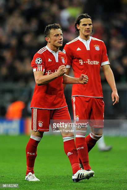 Ivica Olic of Bayern celebrates at the end of the UEFA Champions League quarter final first leg match between FC Bayern Munich and Manchester United...