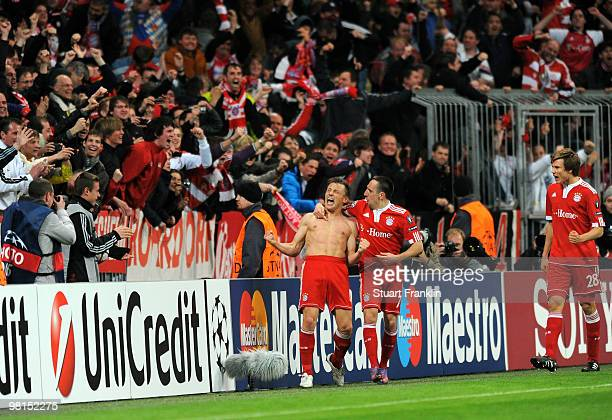 Ivica Olic of Bayern celebrates scoring the second goal with Franck Ribery during the UEFA Champions League quarter final first leg match between FC...
