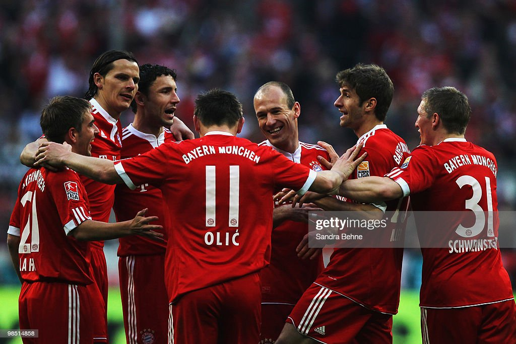 Ivica Olic (C) of Bayern is celebrated by team mates after scoring the fourth goal during the Bundesliga match between FC Bayern Muenchen and Hannover 96 at Allianz Arena on April 17, 2010, in Munich, Germany.