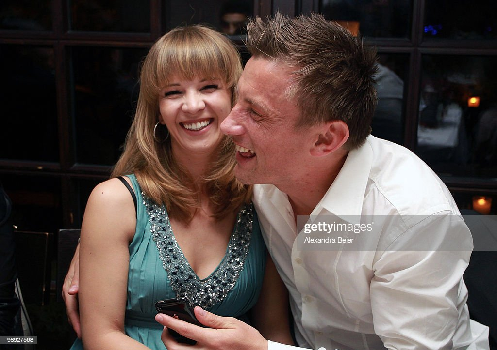 Ivica Olic of Bayern Muenchen and his wife Natalie laugh during a dinner to celebrate their German Championship title on May 8, 2010 in Munich, Germany.