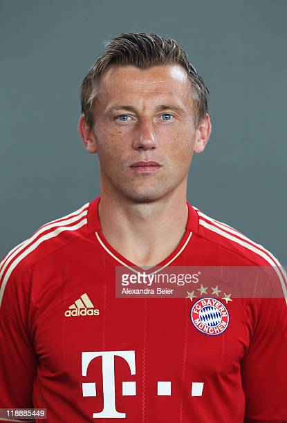 Ivica Olic of Bayern Muenchen poses during the FC Bayern Muenchen team presentation for the upcoming season 2011/2012 at Bayern's training ground...