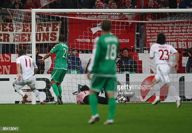 Ivica Olic of Bayern scores his team's first goal during the UEFA Champions League Group A match between FC Bayern Muenchen and Maccabi Haifa at...