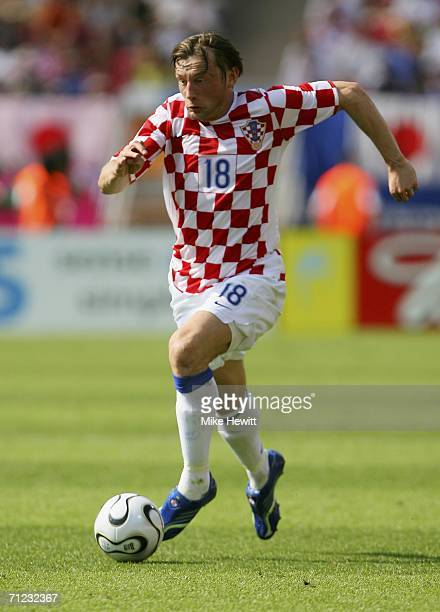 Ivica Olic of Croatia runs with the ball during the FIFA World Cup Germany 2006 Group F match between Japan and Croatia at the Frankenstadion on June...