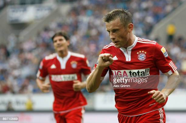 Ivica Olic of Muenchen celebrates his team's first goal during the Bundesliga match between 1899 Hoffenheim and FC Bayern Muenchen at the RheinNeckar...