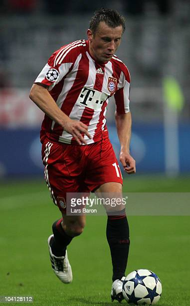 Ivica Olic of Muenchen runs with the ball during the UEFA Champions League group E match between FC Bayern Muenchen and AS Roma at Allianz Arena on...