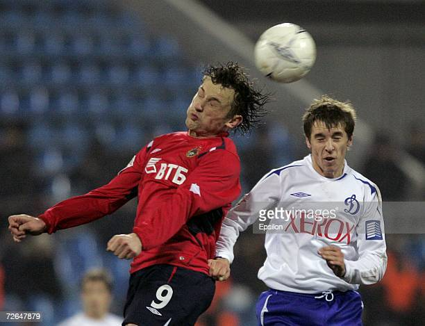 Ivica Olic of PFC CSKA Moscow competes for the ball with Dmitri Kombarov of FC Dynamo Moscow during the Football Russian League Championship match...
