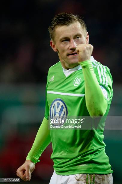 Ivica Olic of Wolfsburg celebrates after scoring his team's first goal during the DFB Cup match between Kickers Offenbach and VfL Wolfsburg on...