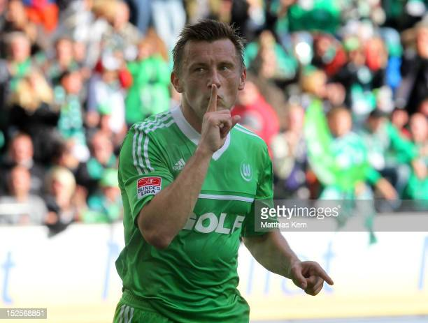 Ivica Olic of Wolfsburg jubilates after scoring the second goal during the Bundesliga match between VFL Wolfsburg and SpVgg Greuther Fuerth at...