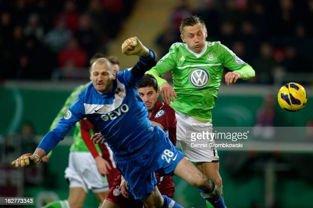 Ivica Olic of Wolfsburg scores his team's first goal during the DFB Cup match between Kickers Offenbach and VfL Wolfsburg on February 26, 2013 in...