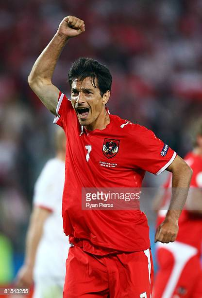 Ivica Vastic of Austria celebrates after he scores a penalty in the last minute during the UEFA EURO 2008 Group B match between Austria and Poland at...