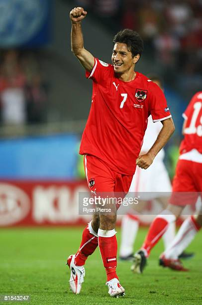 Ivica Vastic of Austria celebrates after scoring his team's first goal from the penalty spot during the UEFA EURO 2008 Group B match between Austria...