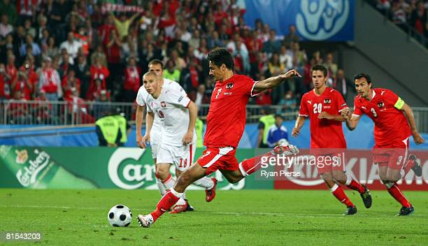 Ivica Vastic of Austria takes and scores the penalty in the last minute during the UEFA EURO 2008 Group B match between Austria and Poland at Ernst...