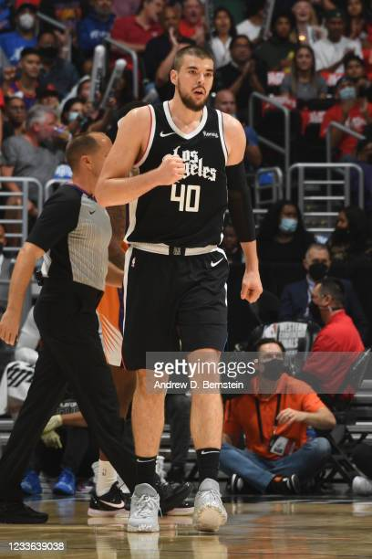 Ivica Zubac of the LA Clippers celebrates during Game 3 of the Western Conference Finals of the 2021 NBA Playoffs on June 24, 2021 at STAPLES Center...