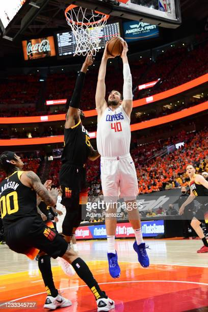 Ivica Zubac of the LA Clippers drives to the basket during Round 2, Game 1 of the 2021 NBA Playoffs on June 8, 2021 at vivint.SmartHome Arena in Salt...