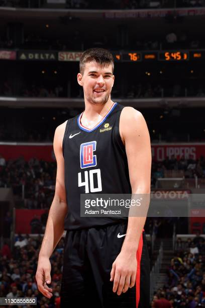 Ivica Zubac of the LA Clippers reacts to a play during the game against the Chicago Bulls on March 15 2019 at STAPLES Center in Los Angeles...
