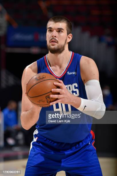 Ivica Zubac of the LA Clippers shoots a free throw against the Cleveland Cavaliers on February 3, 2021 at Rocket Mortgage FieldHouse in Cleveland,...