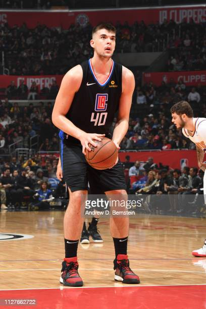 Ivica Zubac of the LA Clippers shoots a free throw against the Phoenix Suns on February 13 2019 at STAPLES Center in Los Angeles California NOTE TO...