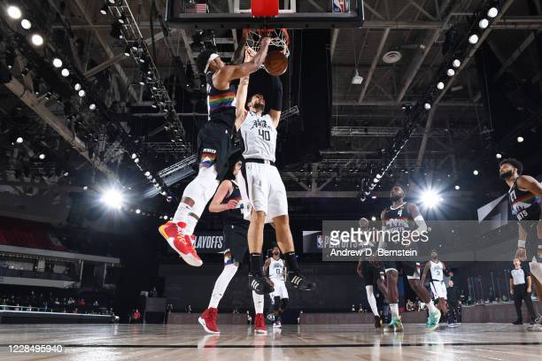 Ivica Zubac of the LA Clippers shoots the ball against the Denver Nuggets during Game Six of the Western Conference Semifinals on September 13, 2020...