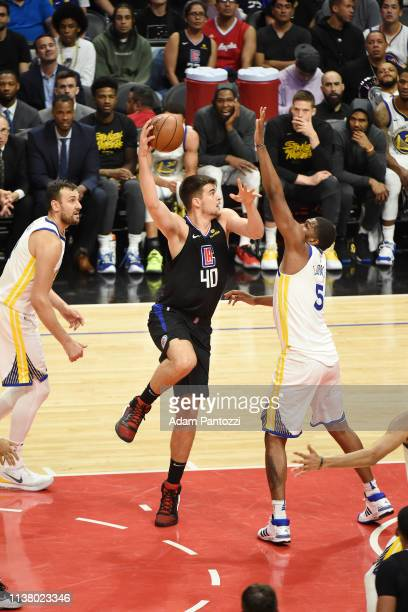 Ivica Zubac of the LA Clippers shoots the ball against the Golden State Warriors during Game Three of Round One of the 2019 NBA Playoffs on April 18...