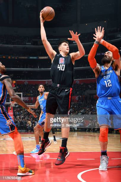 Ivica Zubac of the LA Clippers shoots the ball against the Oklahoma City Thunder on March 8 2019 at STAPLES Center in Los Angeles California NOTE TO...