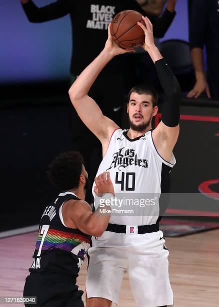 Ivica Zubac of the LA Clippers shoots the ball during the third quarter against the Denver Nuggets in Game Four of the Western Conference Second...