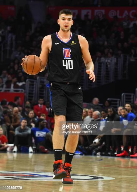 Ivica Zubac of the Los Angeles Clippers takes the ball down court in the game against the Phoenix Suns at Staples Center on February 13 2019 in Los...