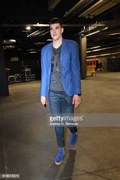 Ivica Zubac of the Los Angeles Lakers arrives at the arena before the game against the Houston Rockets on October 26 2016 at STAPLES Center in Los...