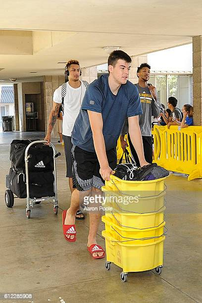 Ivica Zubac of the Los Angeles Lakers arrives before team practice at Robertson Gymnasium on the campus of University of California Santa Barbra on...