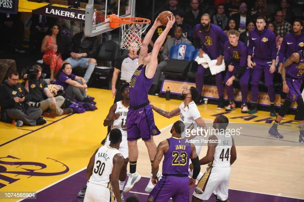 Ivica Zubac of the Los Angeles Lakers drives to the basket during the game against the New Orleans Pelicans on December 21 2018 at STAPLES Center in...