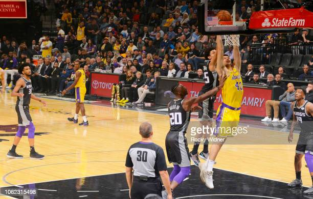 Ivica Zubac of the Los Angeles Lakers dunks against the Sacramento Kings on November 10 2018 at Golden 1 Center in Sacramento California NOTE TO USER...
