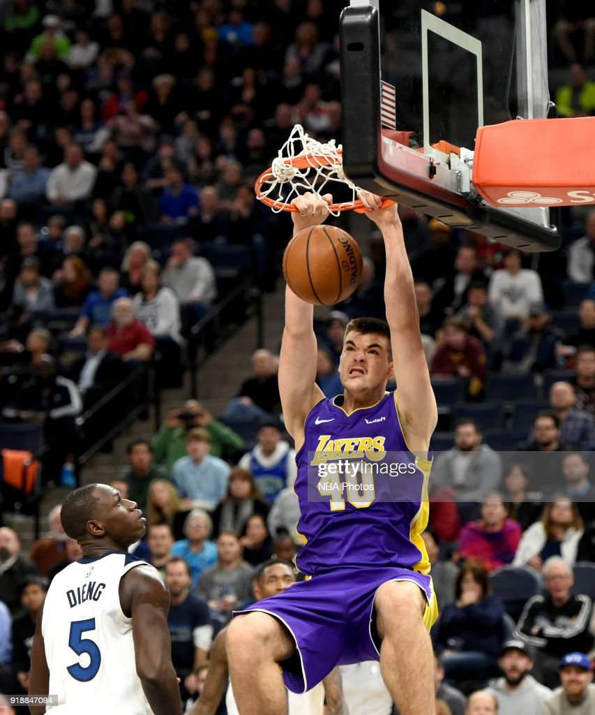 Ivica Zubac #40 of the Los Angeles Lakers dunks the ball against the Minnesota Timberwolves on February 15, 2018 at Target Center in Minneapolis, Minnesota.