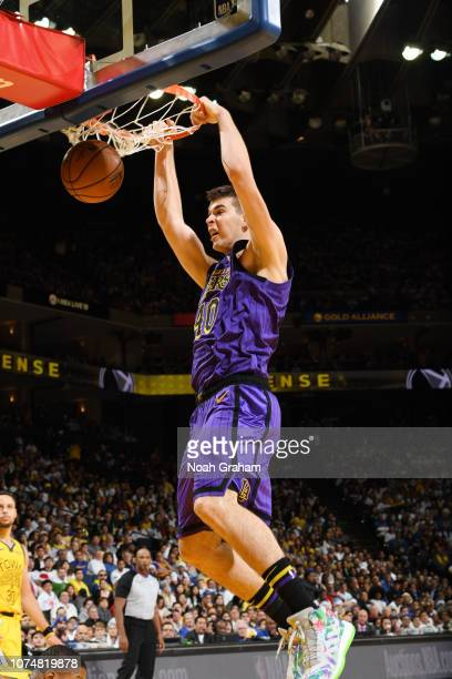 Ivica Zubac of the Los Angeles Lakers dunks the ball against the Golden State Warriors on December 25 2018 at ORACLE Arena in Oakland California NOTE...