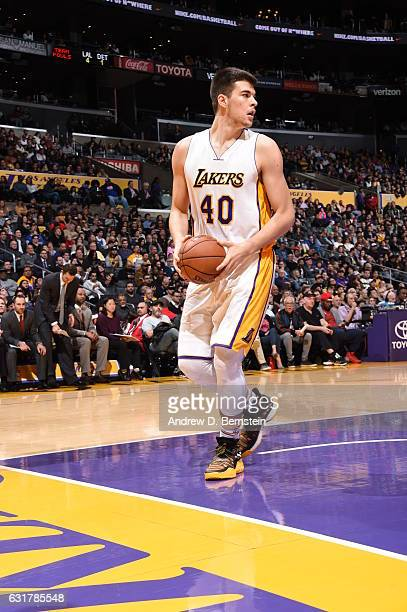 Ivica Zubac of the Los Angeles Lakers handles the ball against the Detroit Pistons on January 15 2017 at STAPLES Center in Los Angeles California...