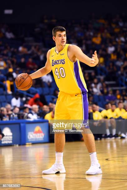Ivica Zubac of the Los Angeles Lakers handles the ball against the Denver Nuggets on October 4 2017 at Citizens Business Bank Arena in Los Angeles...