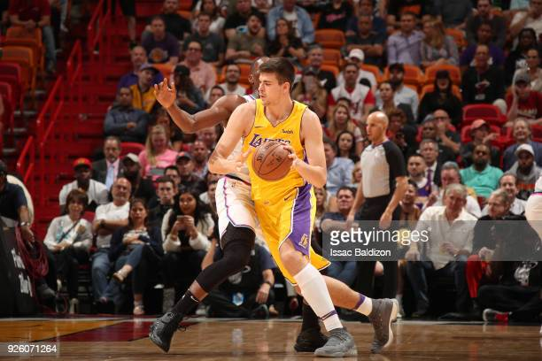 Ivica Zubac of the Los Angeles Lakers handles the ball against the Miami Heat on March 1 2018 at American Airlines Arena in Miami Florida NOTE TO...