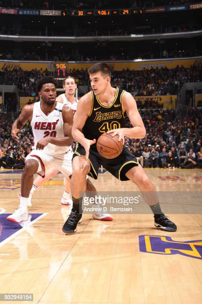 Ivica Zubac of the Los Angeles Lakers handles the ball against the Miami Heat on March 16 2018 at STAPLES Center in Los Angeles California NOTE TO...