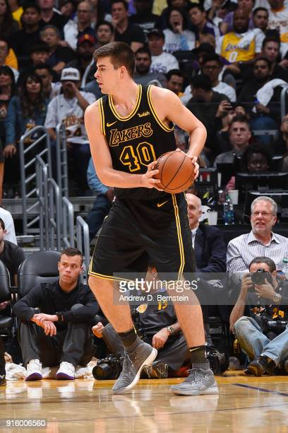 Ivica Zubac of the Los Angeles Lakers handles the ball during the game against the Oklahoma City Thunder on February 8 2018 at STAPLES Center in Los...