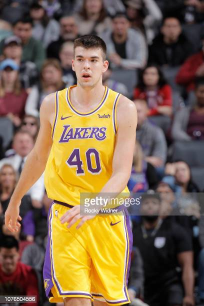 Ivica Zubac of the Los Angeles Lakers looks on during the game against the Sacramento Kings on December 27 2018 at Golden 1 Center in Sacramento...