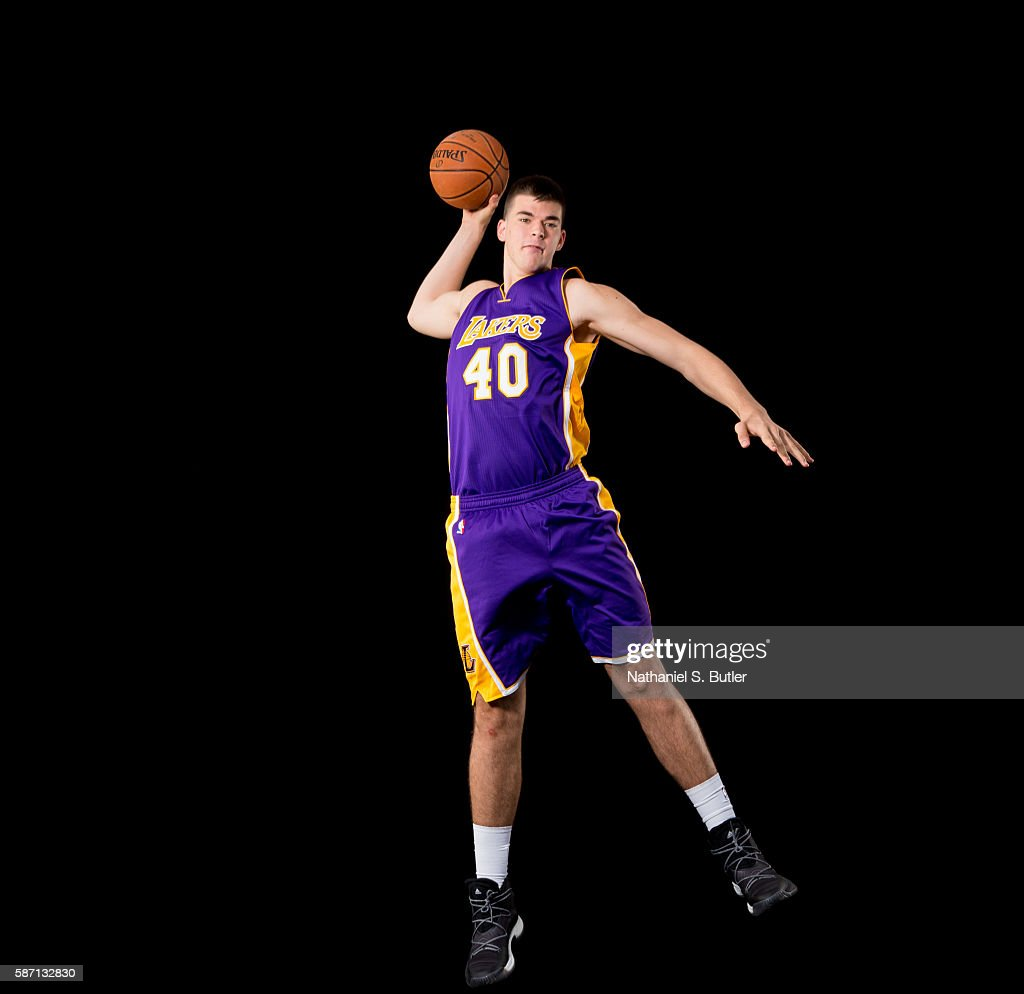 Ivica Zubac of the Los Angeles Lakers poses for a portrait during the 2016 NBA rookie photo shoot on August 7, 2016 at the Madison Square Garden Training Facility in Tarrytown, New York.
