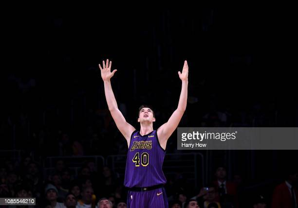 Ivica Zubac of the Los Angeles Lakers reacts to his foul during a 112104 Laker win over the New Orleans Pelicans at Staples Center on December 21...