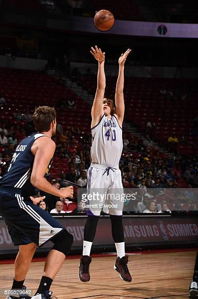 Ivica Zubac of the Los Angeles Lakers shoots against the Utah Jazz during the 2016 NBA Las Vegas Summer League on July 15 2016 at The Thomas Mack...