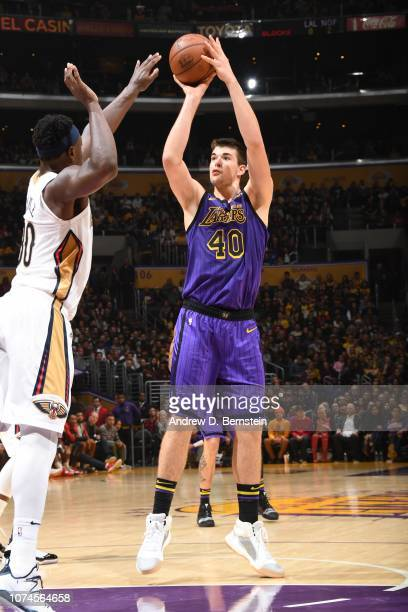 Ivica Zubac of the Los Angeles Lakers shoots the ball against the New Orleans Pelicans on December 21 2018 at STAPLES Center in Los Angeles...