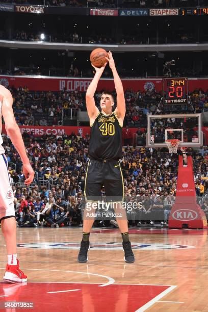 Ivica Zubac of the Los Angeles Lakers shoots the ball against the LA Clippers on April 11 2018 at STAPLES Center in Los Angeles California NOTE TO...