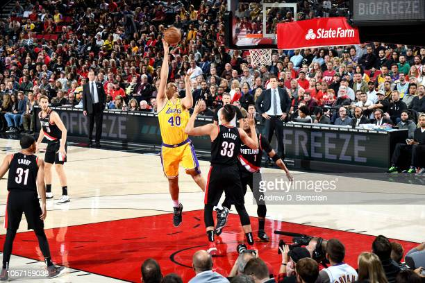 Ivica Zubac of the Los Angeles Lakers shoots the ball against the Portland Trail Blazers on November 3 2018 at Moda Center in Portland Oregon NOTE TO...