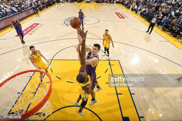 Ivica Zubac of the Los Angeles Lakers shoots the ball against the Golden State Warriors on December 25 2018 at ORACLE Arena in Oakland California...