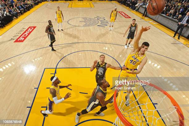 Ivica Zubac of the Los Angeles Lakers shoots the ball against the Golden State Warriors on February 2 2019 at ORACLE Arena in Oakland California NOTE...