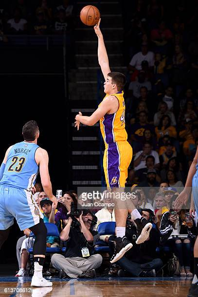 Ivica Zubac of the Los Angeles Lakers shoots the ball against the Denver Nuggets during a preseason game on October 9 2016 at Citizens Business Bank...
