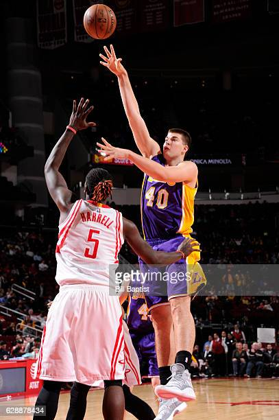 Ivica Zubac of the Los Angeles Lakers shoots the ball against the Houston Rockets on December 7 2016 at the Toyota Center in Houston Texas NOTE TO...