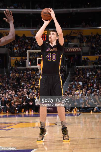 Ivica Zubac of the Los Angeles Lakers shoots the ball during the game against the Minnesota Timberwolves on March 24 2017 at STAPLES Center in Los...