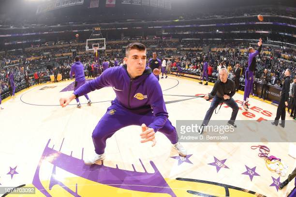 Ivica Zubac of the Los Angeles Lakers stretches prior to the game against the Memphis Grizzlies on December 23 2018 at STAPLES Center in Los Angeles...